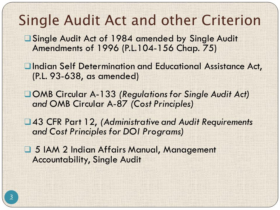 Single Audit Act and other Criterion