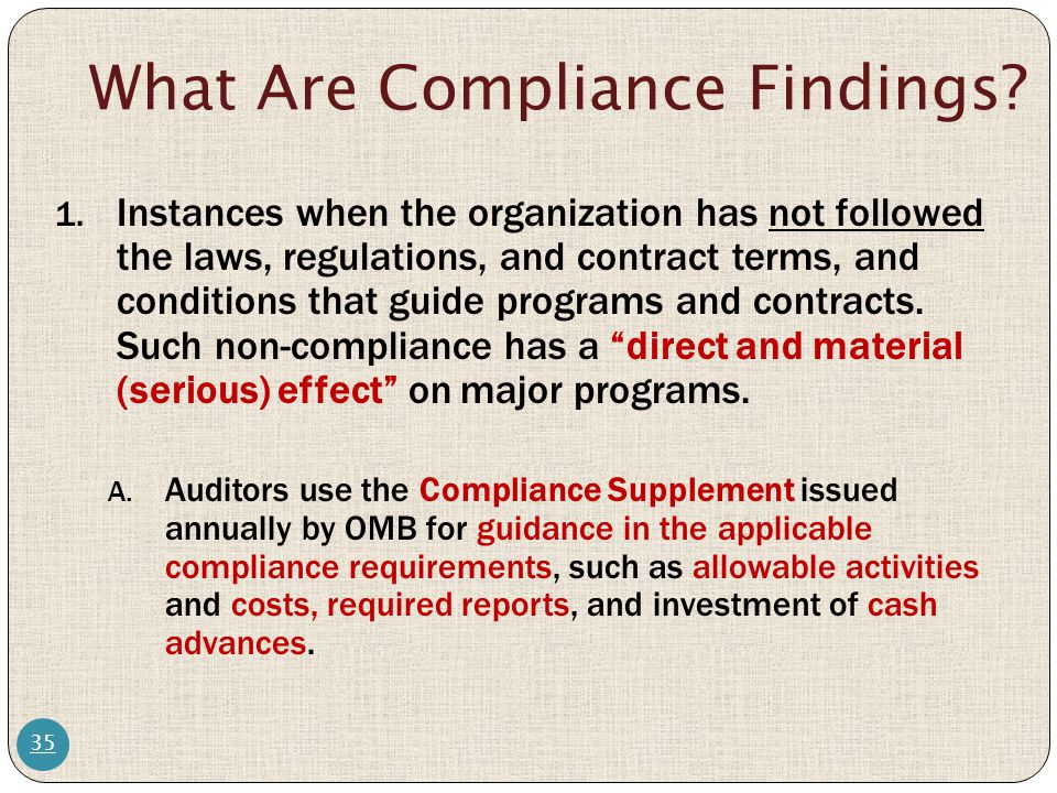 What Are Compliance Findings