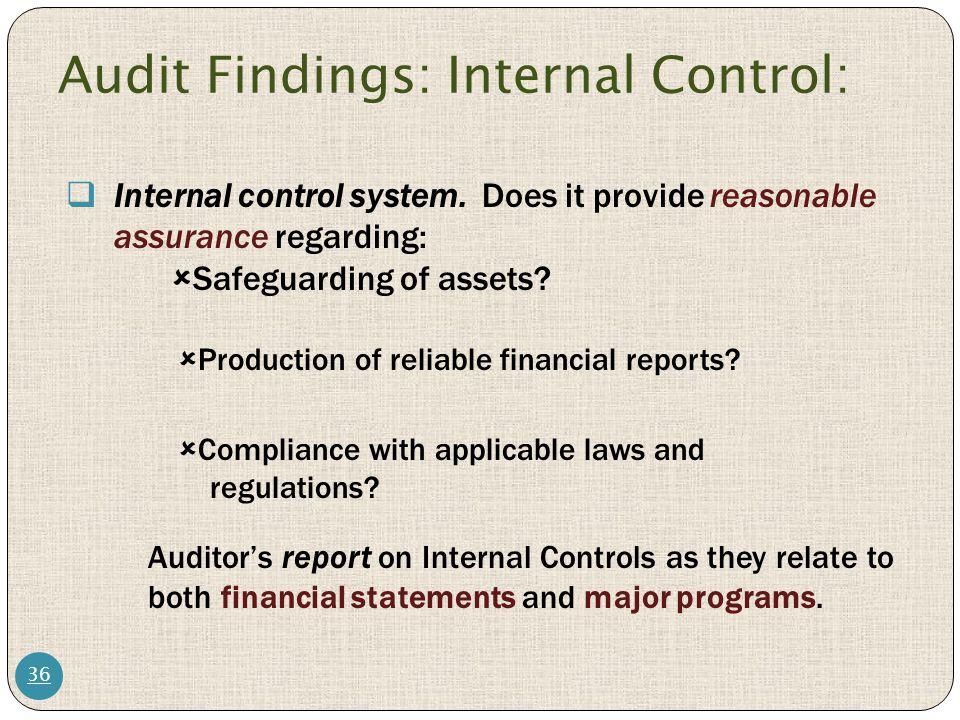 Audit Findings: Internal Control: