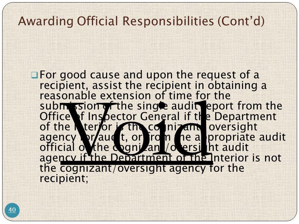 Awarding Official Responsibilities (Cont'd)