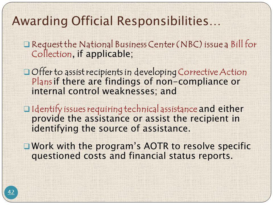 Awarding Official Responsibilities…