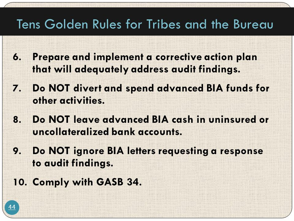 Tens Golden Rules for Tribes and the Bureau