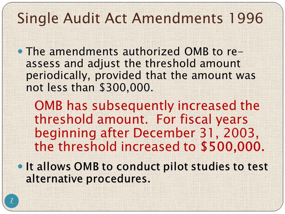 Single Audit Act Amendments 1996