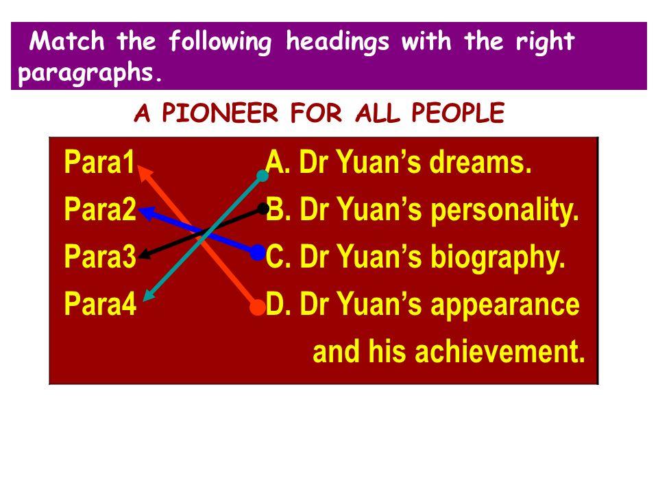 Para2 B. Dr Yuan's personality. Para3 C. Dr Yuan's biography.