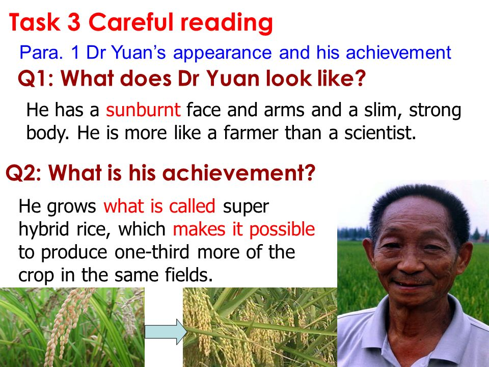 Task 3 Careful reading Q1: What does Dr Yuan look like