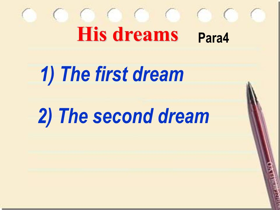His dreams Para4 1) The first dream 2) The second dream