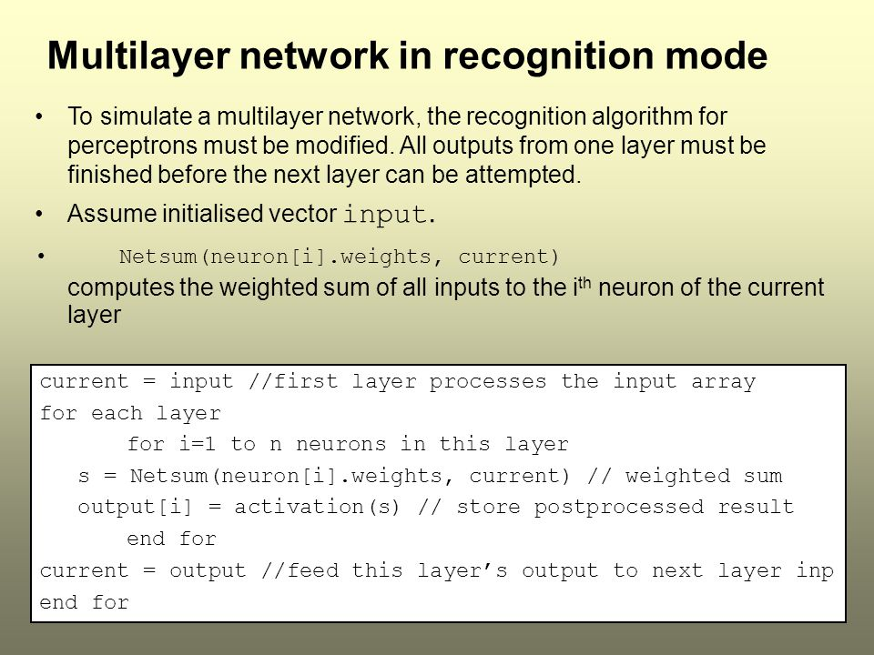 Multilayer network in recognition mode