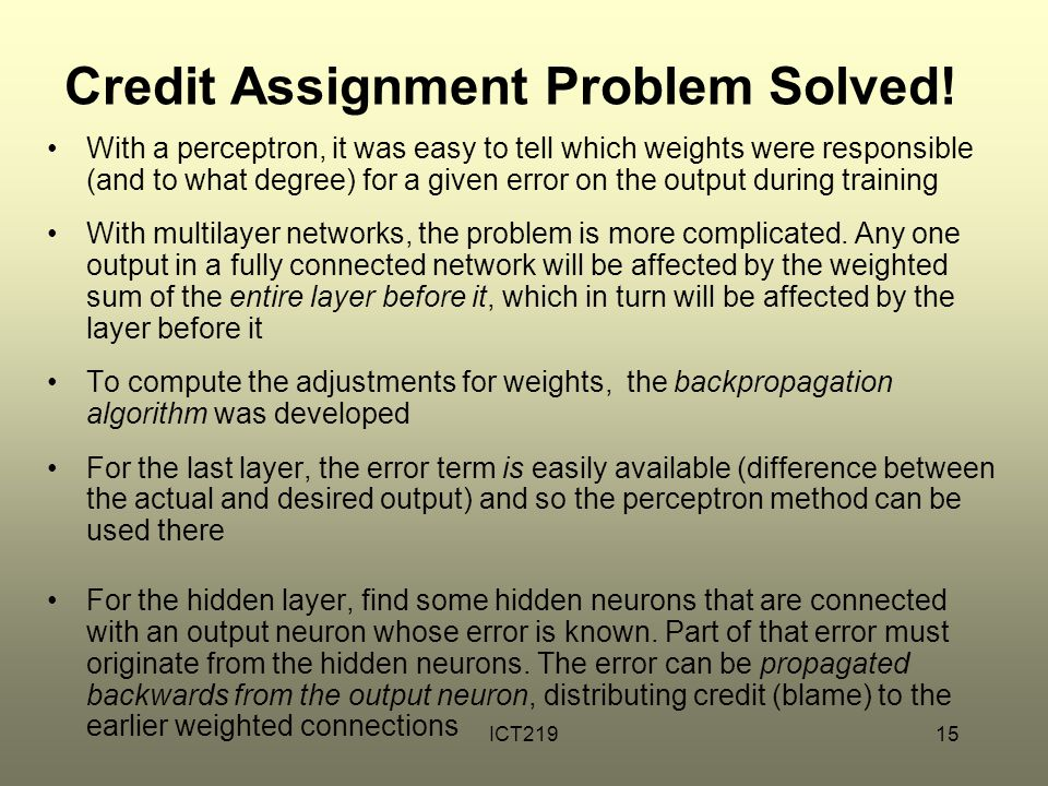 Credit Assignment Problem Solved!