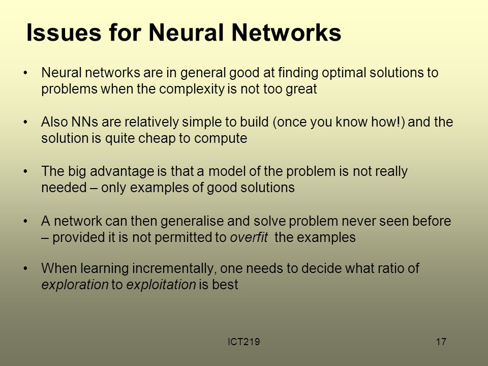 Issues for Neural Networks