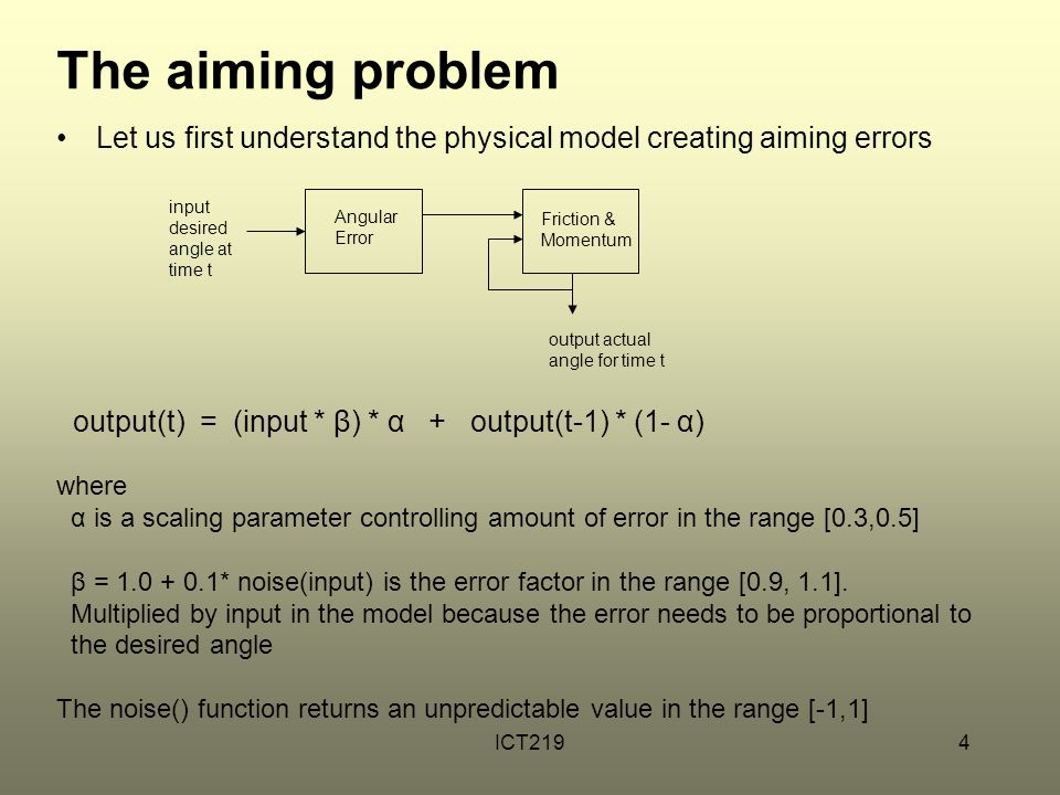 The aiming problem Let us first understand the physical model creating aiming errors. Angular. Error.