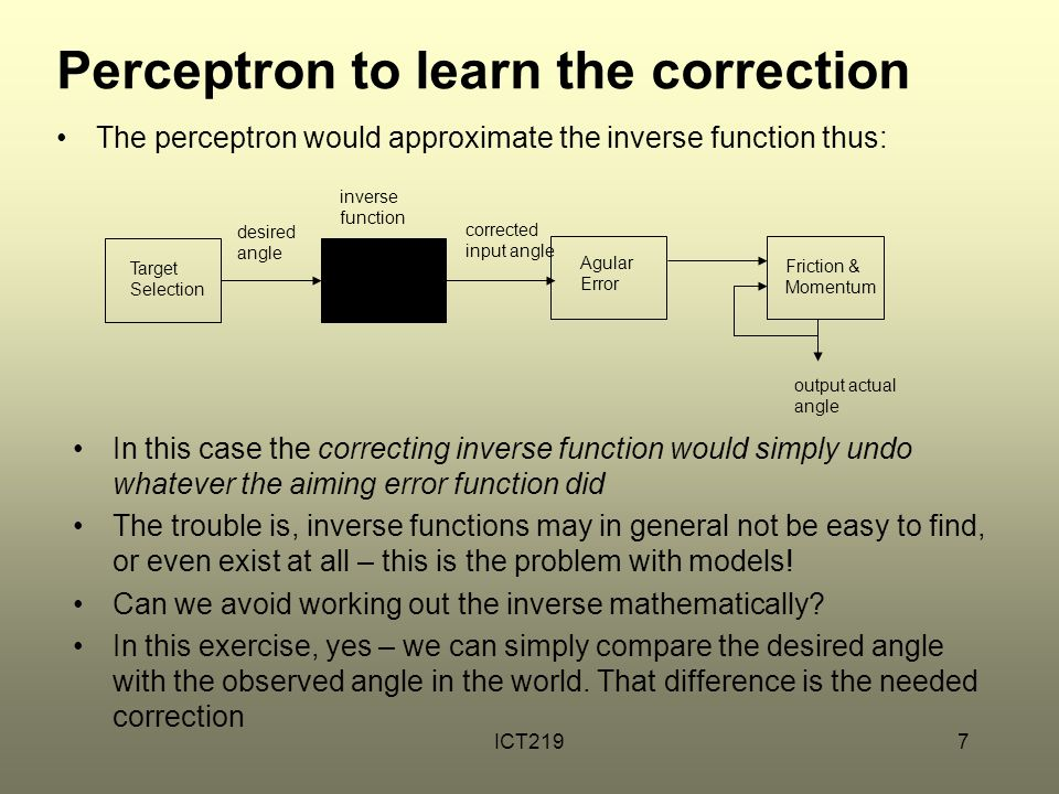Perceptron to learn the correction