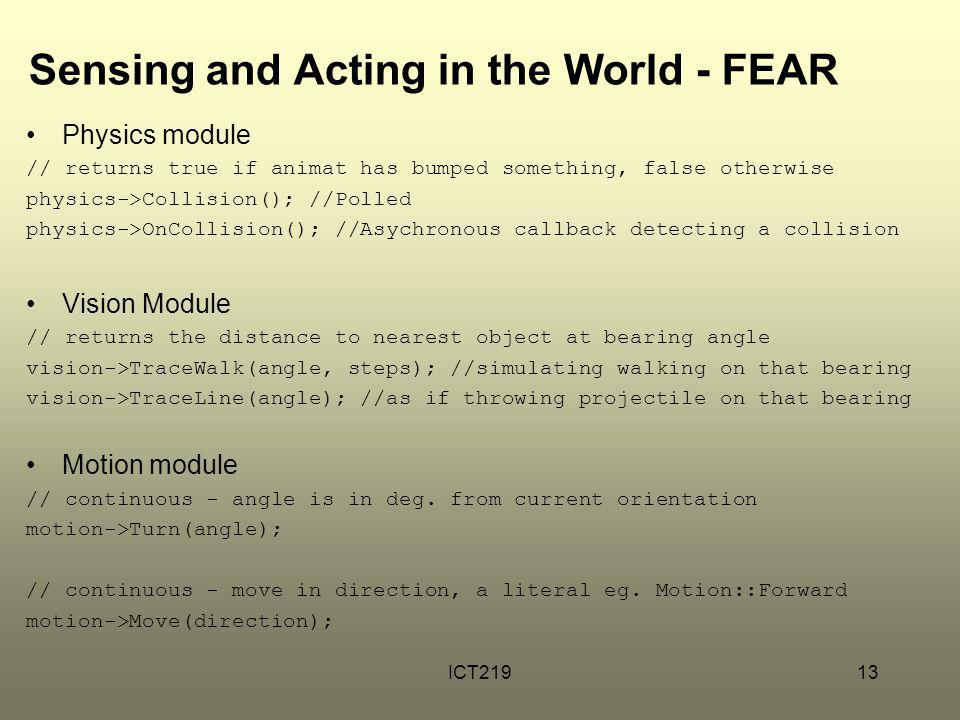 Sensing and Acting in the World - FEAR
