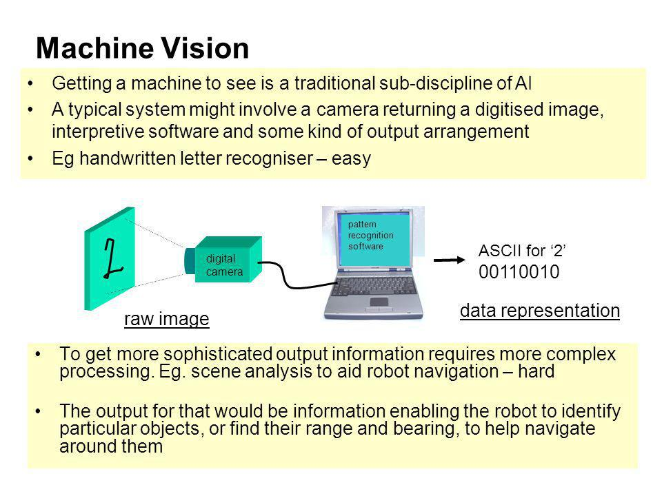 Machine Vision Getting a machine to see is a traditional sub-discipline of AI.