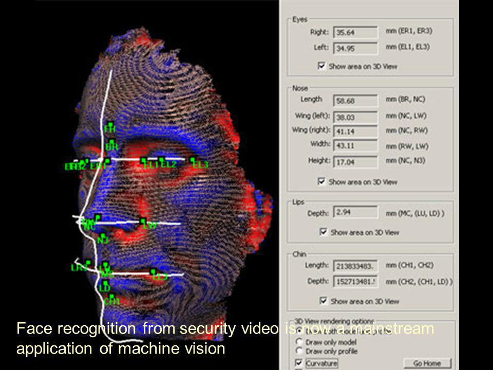 Face recognition from security video is now a mainstream application of machine vision