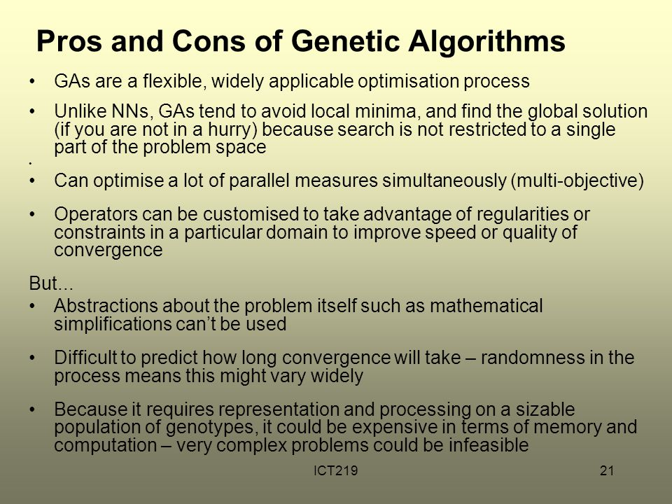 Pros and Cons of Genetic Algorithms