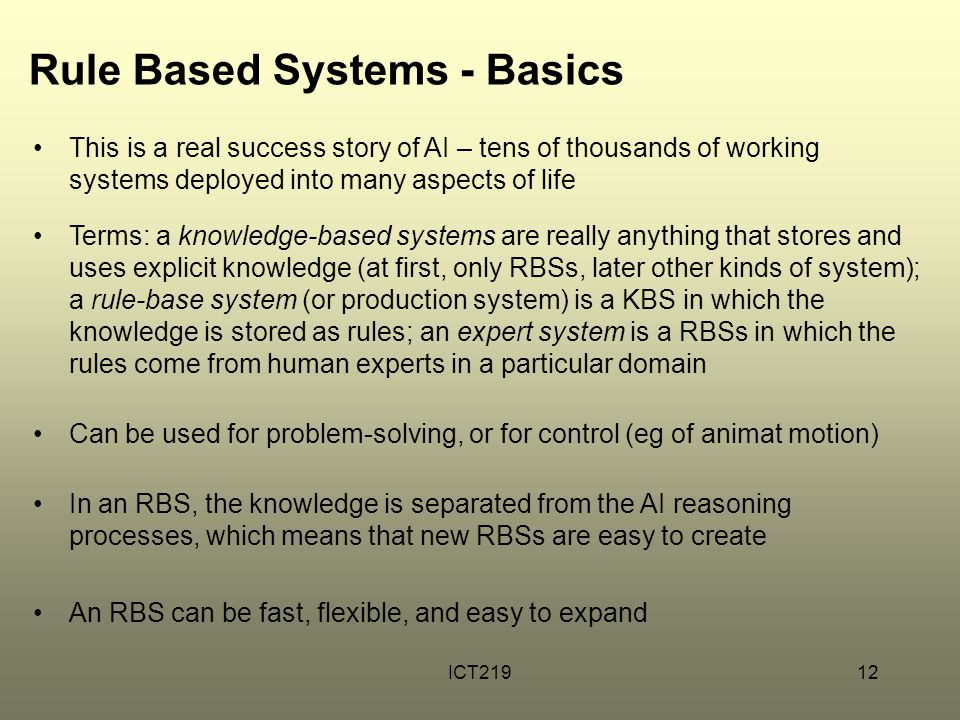 Rule Based Systems - Basics