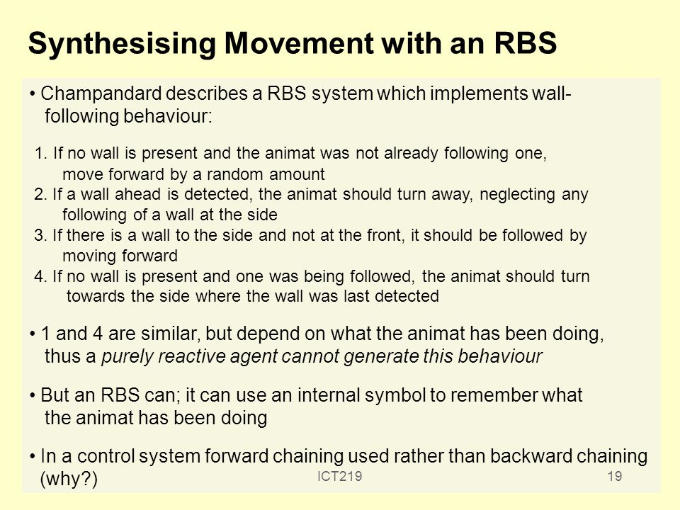 Synthesising Movement with an RBS