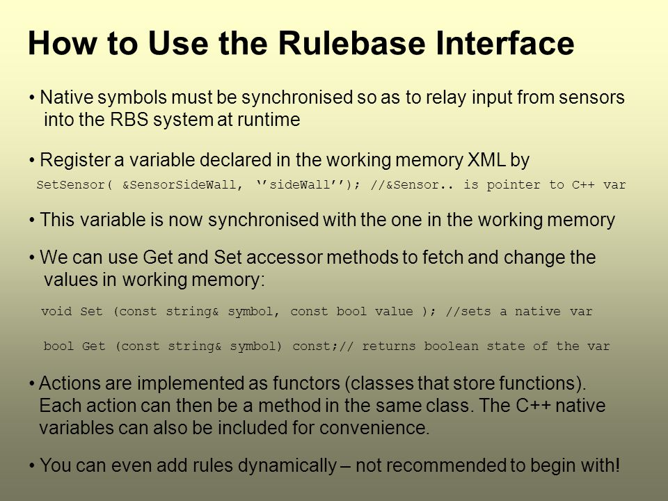 How to Use the Rulebase Interface