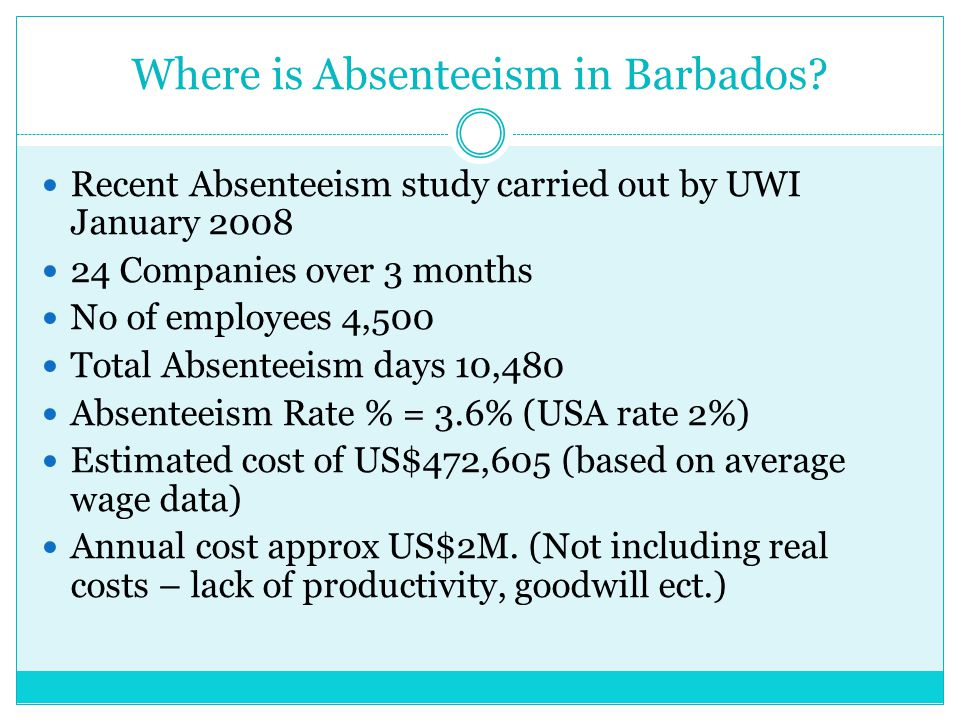Where is Absenteeism in Barbados