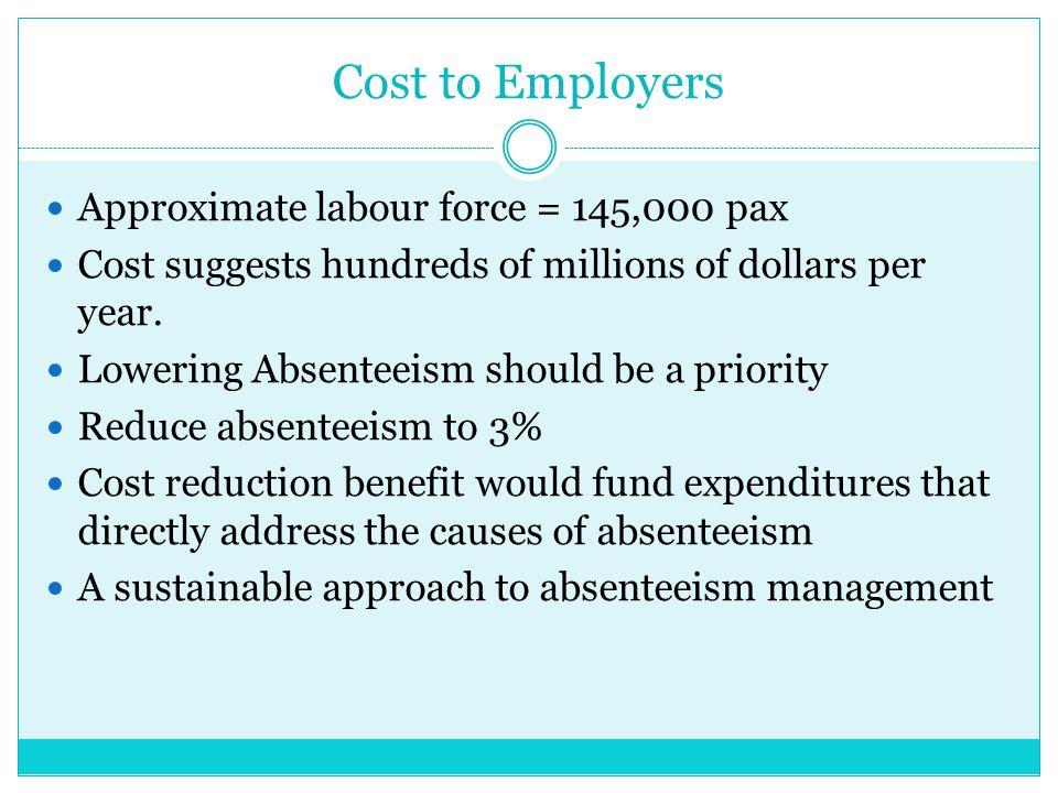 Cost to Employers Approximate labour force = 145,000 pax