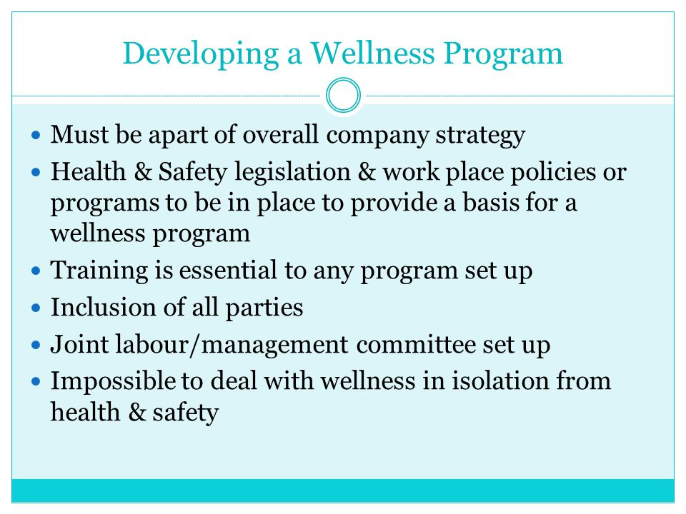Developing a Wellness Program