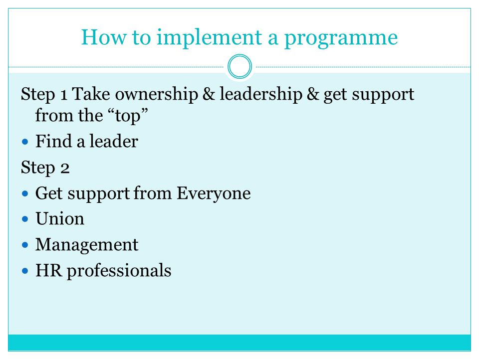How to implement a programme