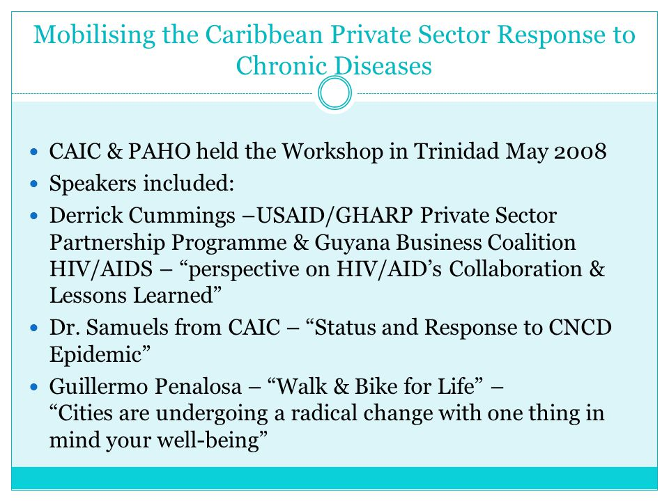 Mobilising the Caribbean Private Sector Response to Chronic Diseases