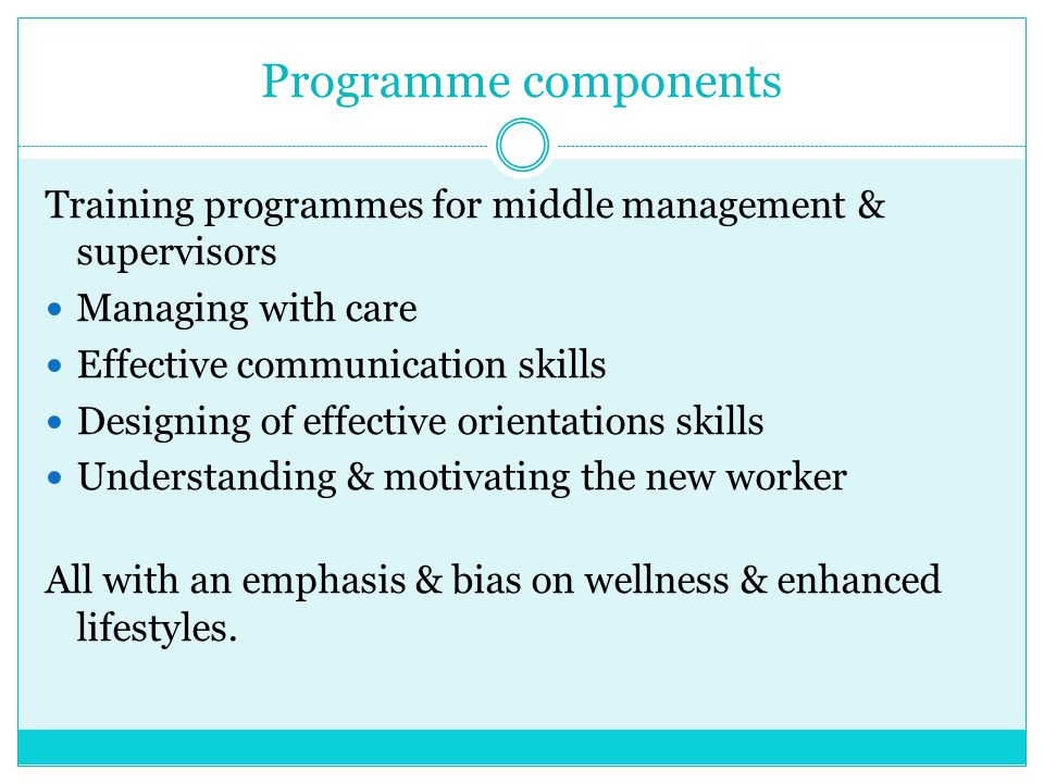 Programme components Training programmes for middle management & supervisors. Managing with care. Effective communication skills.