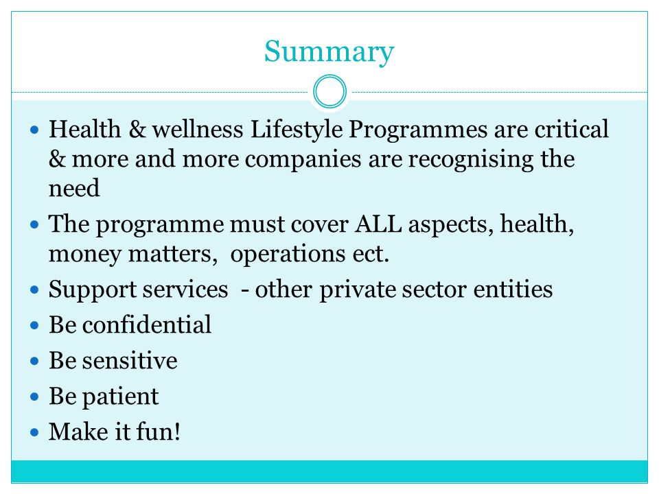 Summary Health & wellness Lifestyle Programmes are critical & more and more companies are recognising the need.