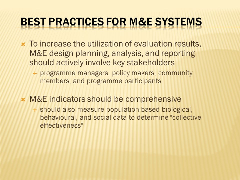 Best Practices for M&E Systems