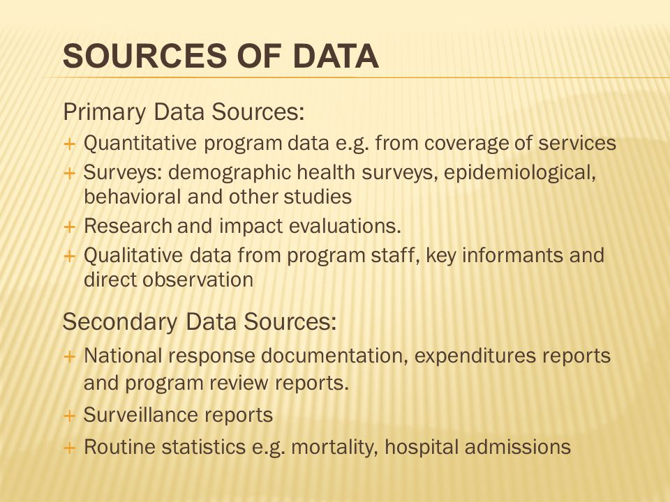 Sources of Data Primary Data Sources: Secondary Data Sources: