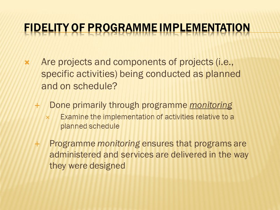 Fidelity of Programme Implementation