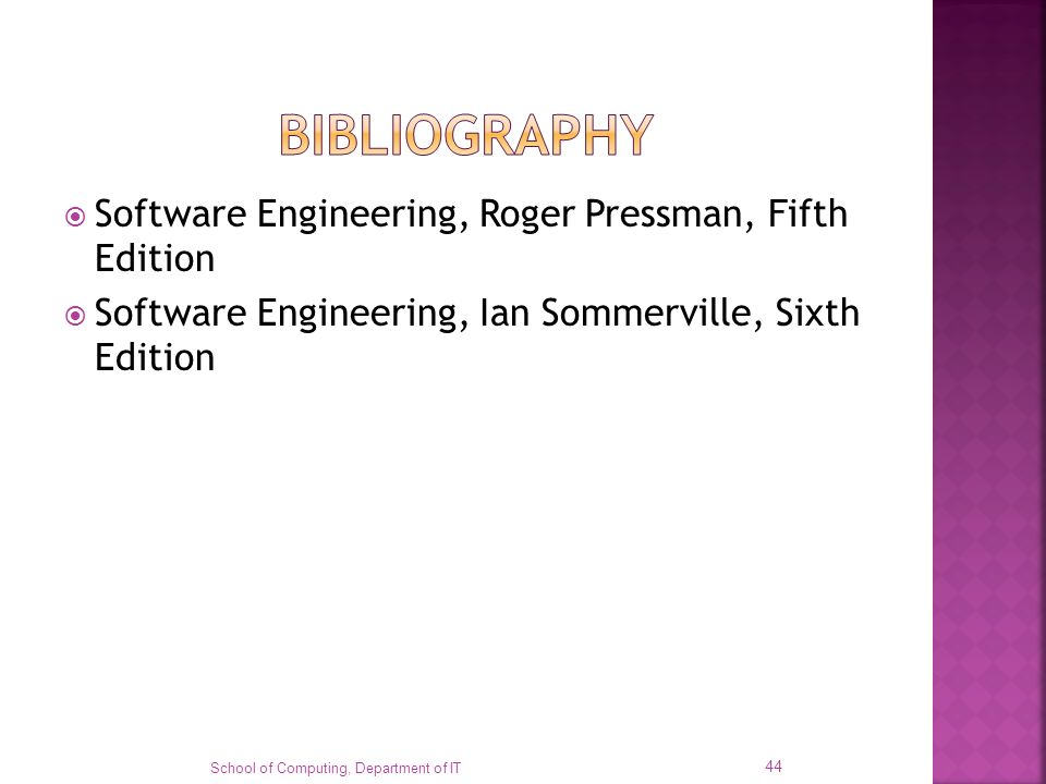 bibliography Software Engineering, Roger Pressman, Fifth Edition