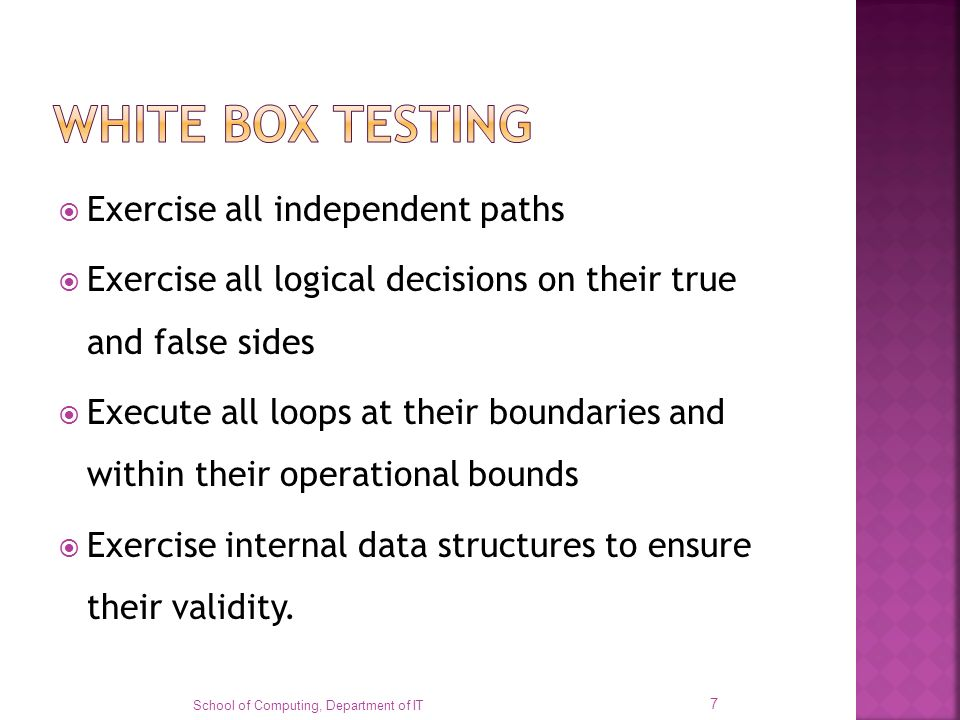 WHITE BOX TESTING Exercise all independent paths