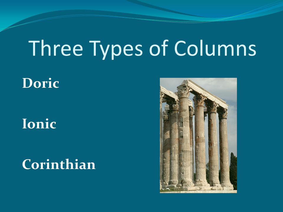 Three Types of Columns Doric Ionic Corinthian