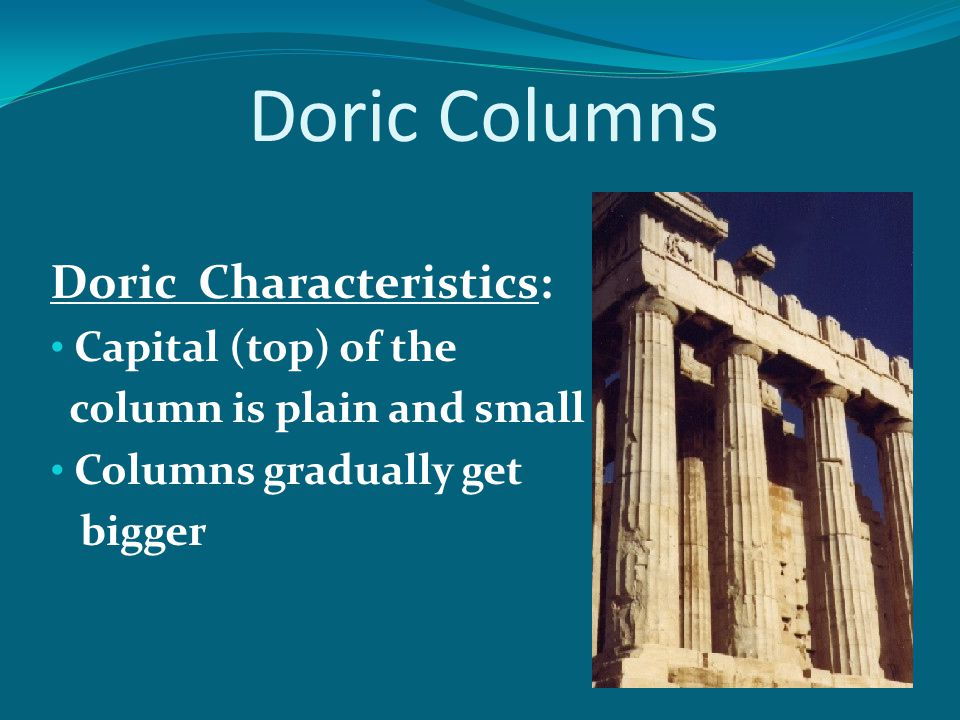 Doric Columns Doric Characteristics: Capital (top) of the