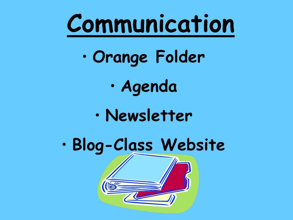 Communication Orange Folder Agenda Newsletter Blog-Class Website