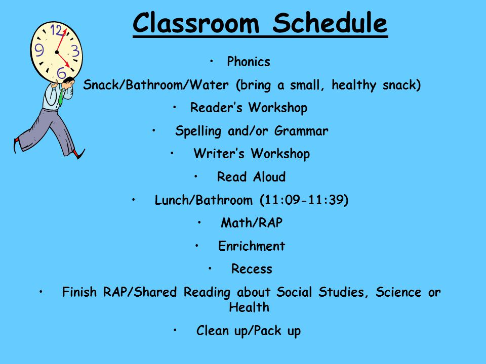 Classroom Schedule Phonics