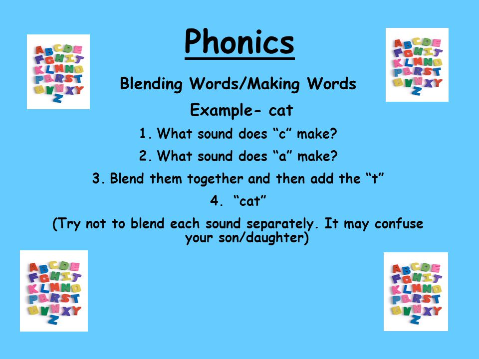 Phonics Blending Words/Making Words Example- cat