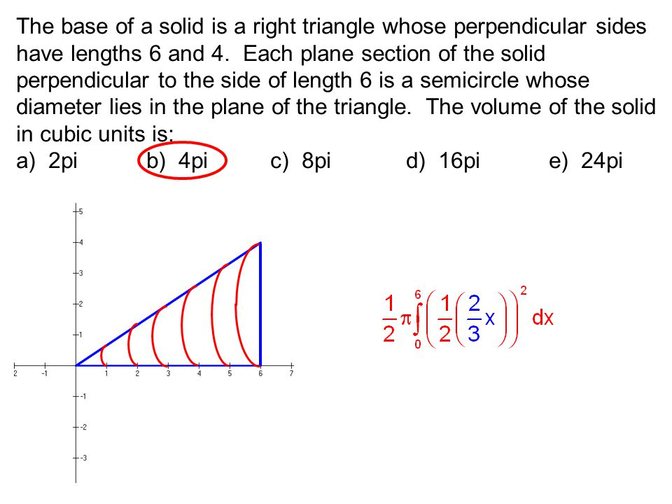 The base of a solid is a right triangle whose perpendicular sides