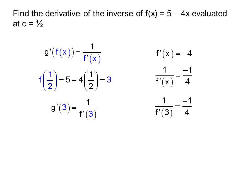 Find the derivative of the inverse of f(x) = 5 – 4x evaluated