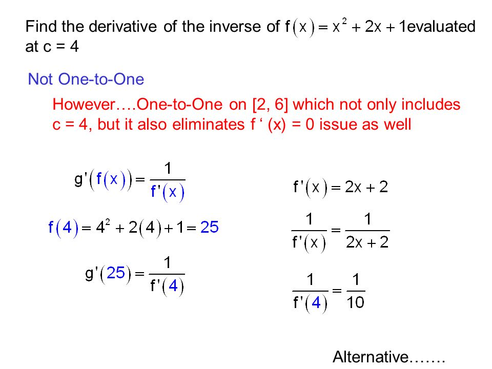 Find the derivative of the inverse of evaluated