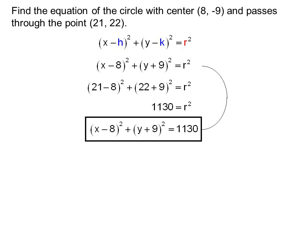 Find the equation of the circle with center (8, -9) and passes