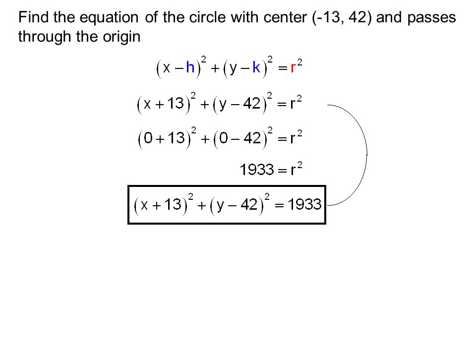 Find the equation of the circle with center (-13, 42) and passes