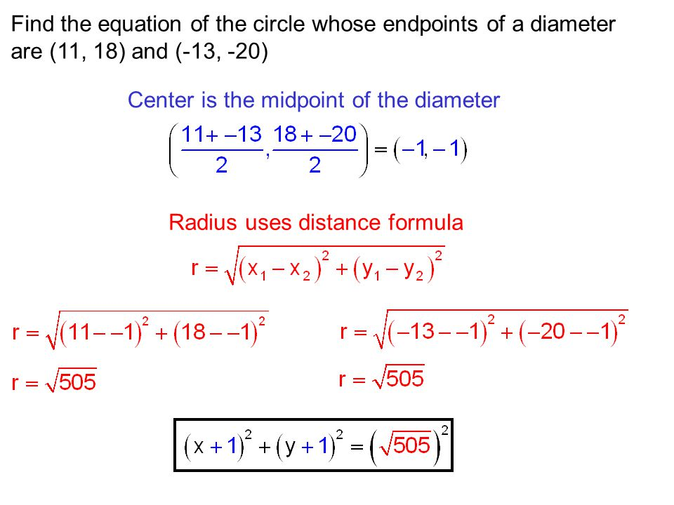 Find the equation of the circle whose endpoints of a diameter