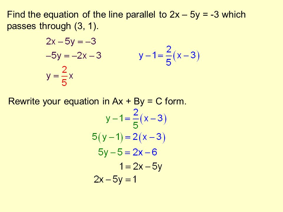 Find the equation of the line parallel to 2x – 5y = -3 which