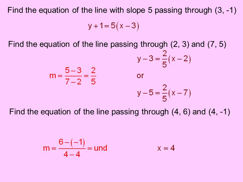 Find the equation of the line with slope 5 passing through (3, -1)