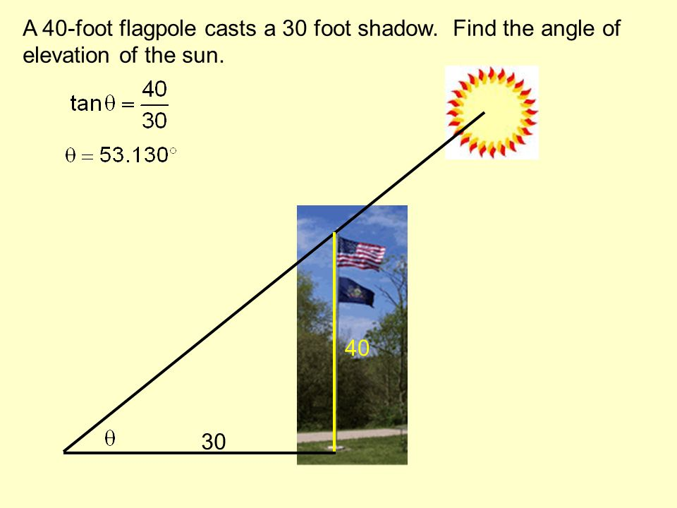 A 40-foot flagpole casts a 30 foot shadow. Find the angle of