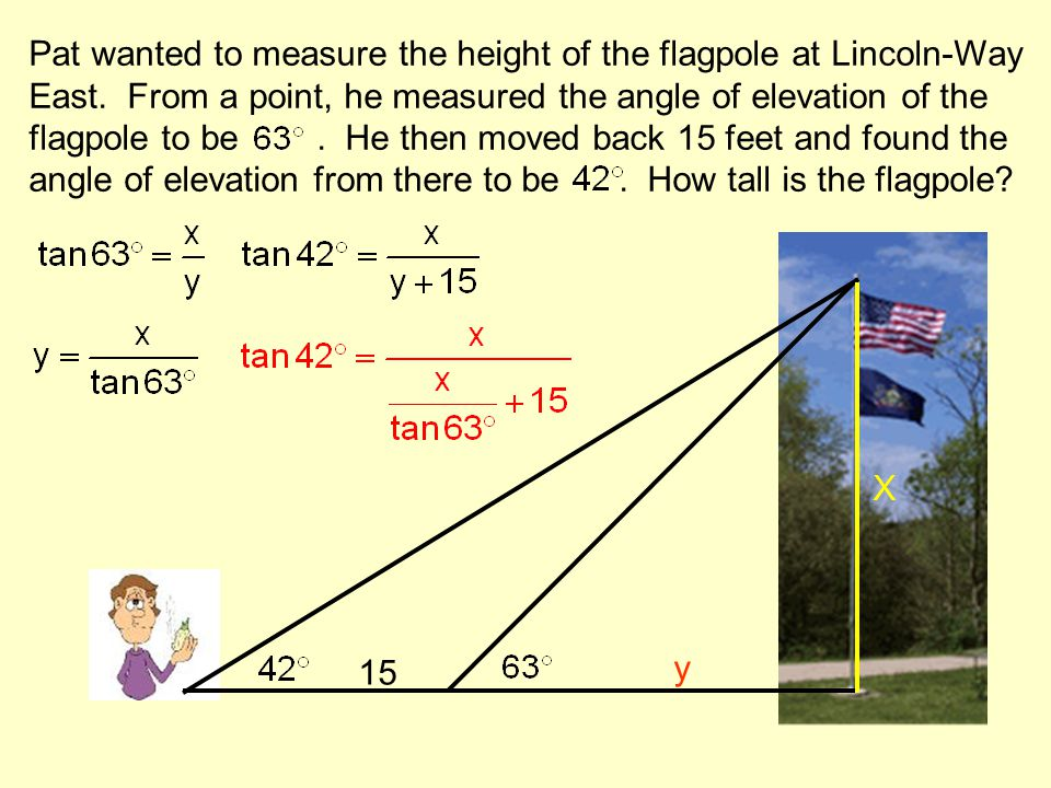 Pat wanted to measure the height of the flagpole at Lincoln-Way East