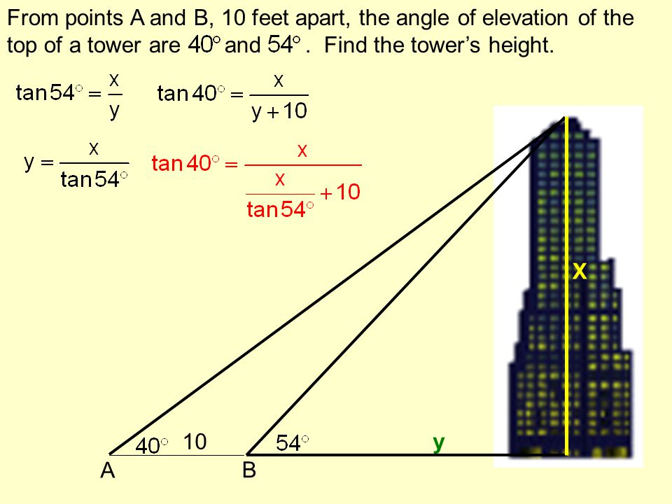 From points A and B, 10 feet apart, the angle of elevation of the top of a tower are and . Find the tower's height.